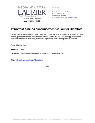 55-2009 : Important funding announcement at Laurier Brantford