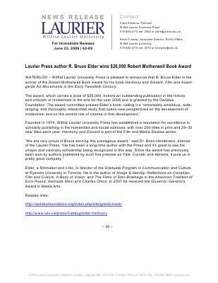 62-2009 : Laurier Press author R. Bruce Elder wins $20,000 Robert Motherwell Book Award