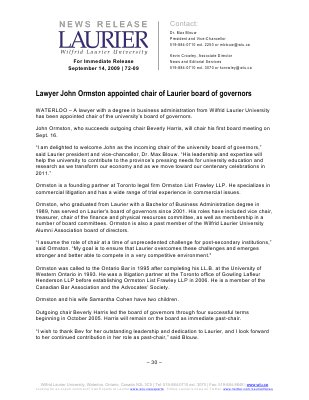 72-2009 : Lawyer John Ormston appointed chair of Laurier board of governors