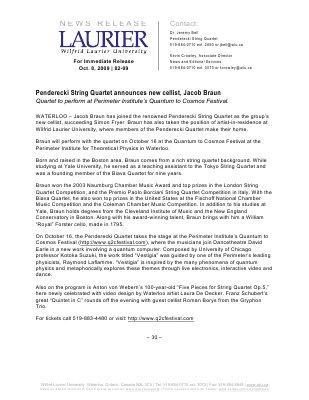 82-2009 : Penderecki String Quartet announces new cellist, Jacob Braun