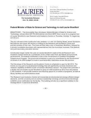 85-2009 : Federal Minister of State for Science and Technology to visit Laurier Brantford