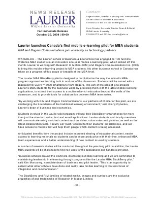 89-2009 : Laurier launches Canada's first mobile e-learning pilot for MBA students