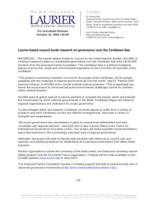 90-2009 : Laurier-based council fund research on governance over Caribbean sea