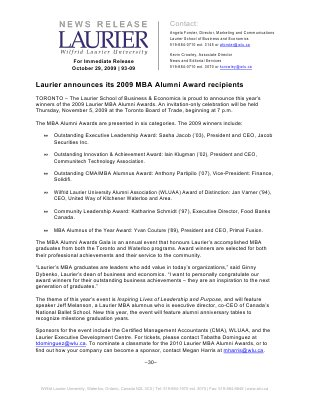 93-2009 : Laurier announces its 2009 MBA Alumni Awards recipients