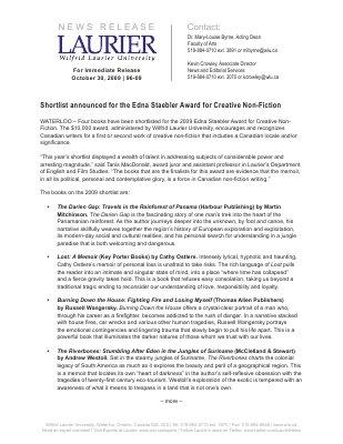 96-2009 : Shortlist announced for the Edna Staebler Award for Creative Non-Fiction