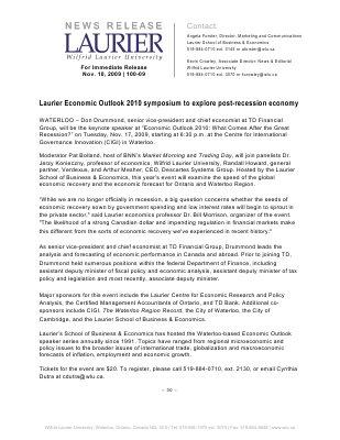 100-2009 : Laurier Economic Outlook 2010 symposium to explore post-recession economy