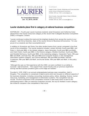 04-2010 : Laurier students place first in category at national business competition