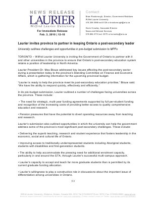 12-2010 : Laurier invites province to partner in keeping Ontario a post-secondary leader