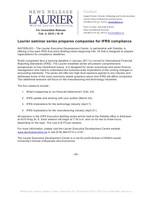 16-2010 : Laurier seminar series prepares companies for IFRS compliance