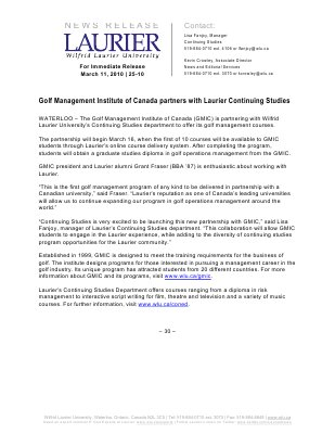 25-2010 : Golf Management Institute of Canada partners with Laurier Continuing Studies