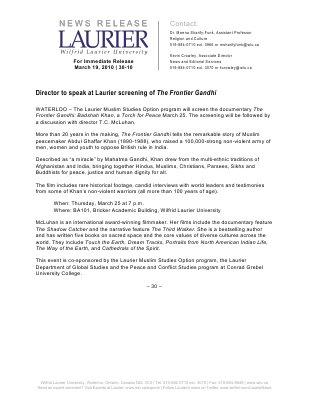 30-2010 : Director to speak at Laurier screening of The Frontier Gandhi