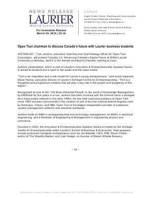 35-2010 : Open Text chairman to discuss Canada's future with Laurier business students