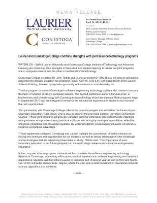 43-2010 : Laurier and Conestoga College combine strengths with joint science technology programs