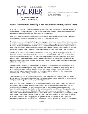 56-2010 : Laurier appoints David McMurray to new post of Vice-President, Student Affairs