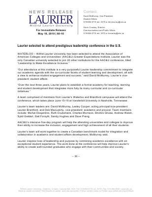 60-2010 : Laurier selected to attend prestigious leadership conference in the U.S.