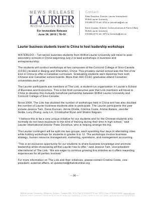 78-2010 : Laurier business students travel to China to host leadership workshops
