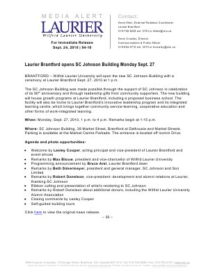 94a-2010 : Laurier Brantford opens SC Johnson Building Monday Sept. 27
