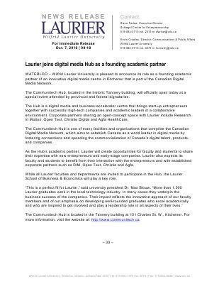 99-2010 : Laurier joins digital media Hub as founding academic partner