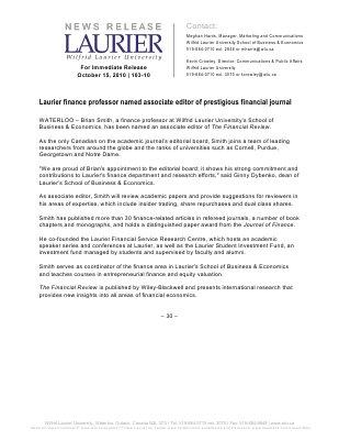 103-2010 : Laurier finance professor named associate editor of prestigious financial journal