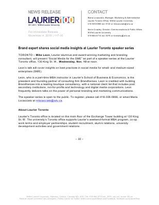 117-2010 : Brand expert shares social media insights at Laurier Toronto speaker series