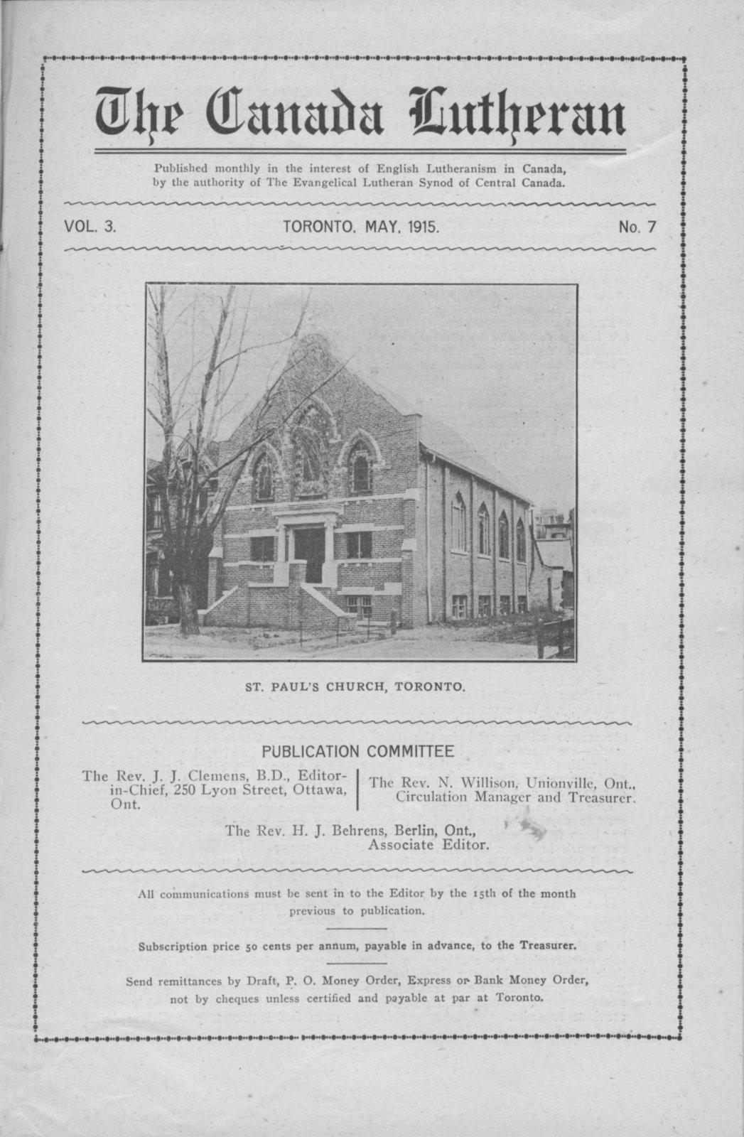 The Canada Lutheran, vol. 3, no. 7, May 1915