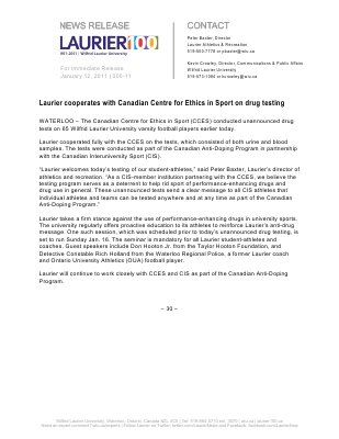 05-2011 : Laurier cooperates with Canadian Centre for Ethics in Sport on drug testing