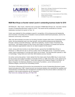 08-2011 : M&M Meat Shops co-founder named Laurier's outstanding business leader for 2010