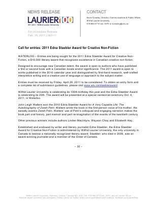 27-2011 : Call for entries: 2011 Edna Staebler Award for Creative Non-Fiction