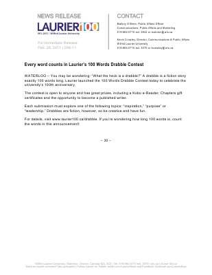 36-2011 : Every word counts in Laurier's 100 Words Drabble Contest