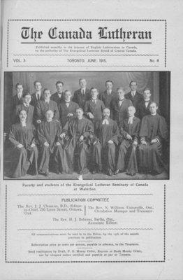 The Canada Lutheran, vol. 3, no. 8, June 1915