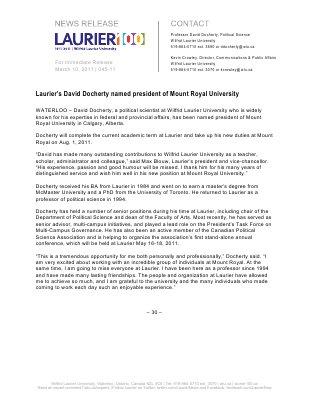 45-2011 : Laurier's David Docherty named president of Mount Royal University