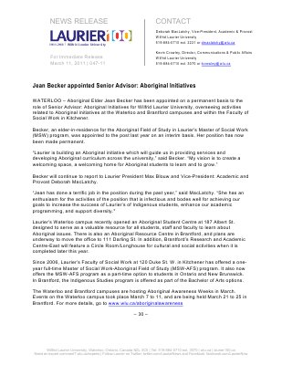 47-2011 : Jean Becker appointed Senior Advisor: Aboriginal Initiatives
