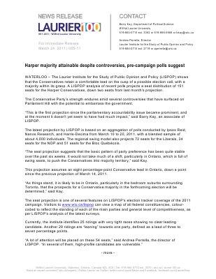 55-2011 : Harper majority attainable despite controversies, pre-campaign polls suggest