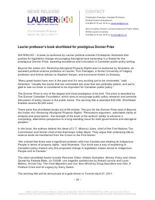 57-2011 : Laurier professor's book shortlisted for prestigious Donner Prize