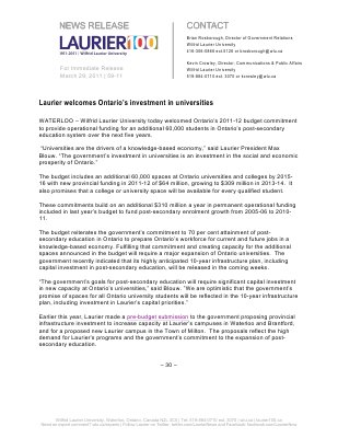 59-2011 : Laurier welcomes Ontario's investment in universities