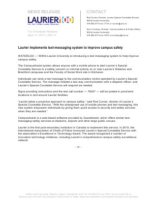 63-2011 : Laurier implements text-messaging system to improve campus safety