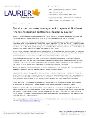 124-2012 : Global expert on asset management to speak at Northern Finance Association conference, hosted by Laurier