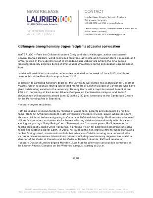 80-2011 : Kielburgers among honorary degree recipients at Laurier convocation