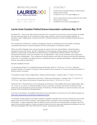 82-2011 : Laurier hosts Canadian Political Science Association conference May 16-18