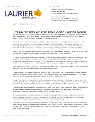 125-2012 : Two Laurier profs win prestigious OCUFA Teaching Awards