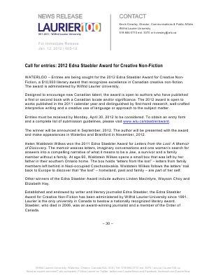 05-2012 : Call for entries: 2012 Edna Staebler Award for Creative Non-Fiction