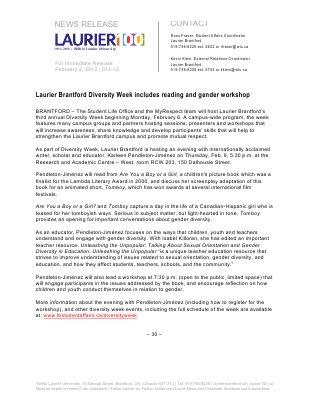 12-2012 : Laurier Brantford Diversity Week includes reading and gender workshop