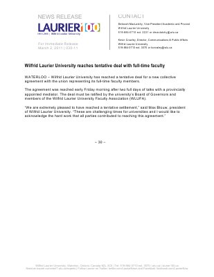 30-2012 : Wilfrid Laurier University reaches tentative deal with full-time faculty