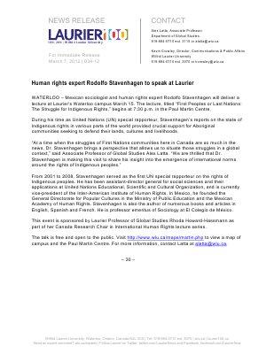 34-2012 : Human rights expert Rodolfo Stavenhagen to speak at Laurier