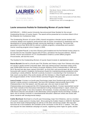 40-2012 : Laurier announces finalists for Outstanding Women of Laurier Award