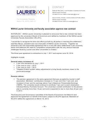 42-2012 : Wilfrid Laurier University and faculty association approve new contract