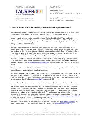 51-2012 : Laurier's Robert Langen Art Gallery hosts second Empty Bowls event