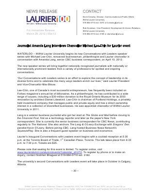54-2012 : Journalist Amanda Lang interviews Chancellor Michael Lee-Chin for Laurier event