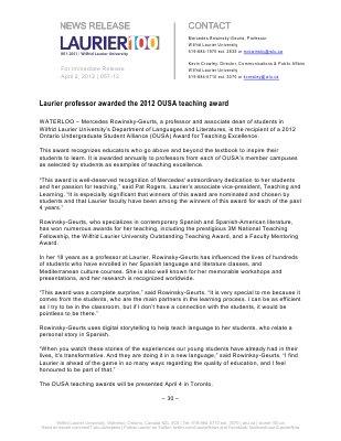 57-2012 : Laurier professor awarded the 2012 OUSA teaching award