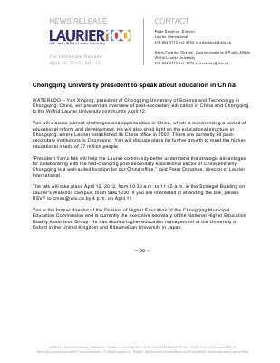 61-2012 : Chongqing University president to speak about education in China